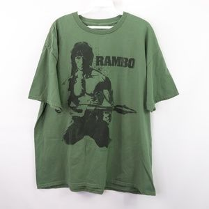 Vintage 80s Mens XL Rambo Graphic T Shirt Green